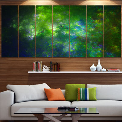 Green Fractal Sky With Blur Stars Abstract CanvasArt Print - 6 Panels