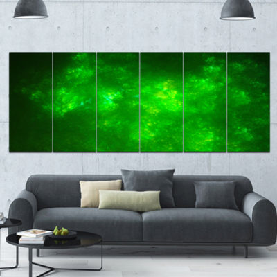 Designart Bright Green Fractal Sky With Stars Abstract Canvas Art Print - 6 Panels