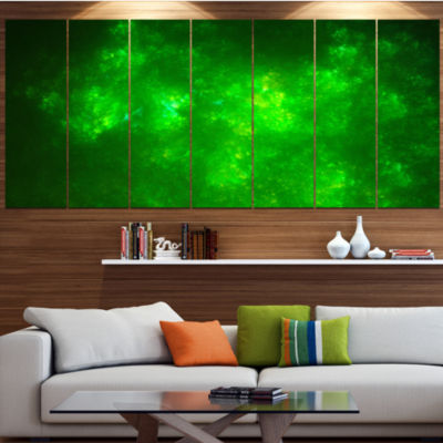Design Art Bright Green Fractal Sky With Stars Abstract Canvas Art Print - 7 Panels