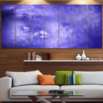 Light Blue Fractal Sky With Stars Contemporary Canvas Art Print - 5 Panels