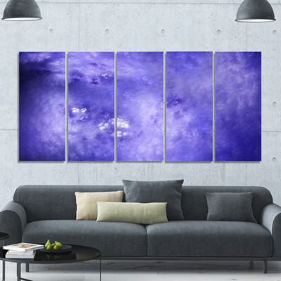 Light Blue Fractal Sky With Stars Abstract CanvasArt Print - 5 Panels