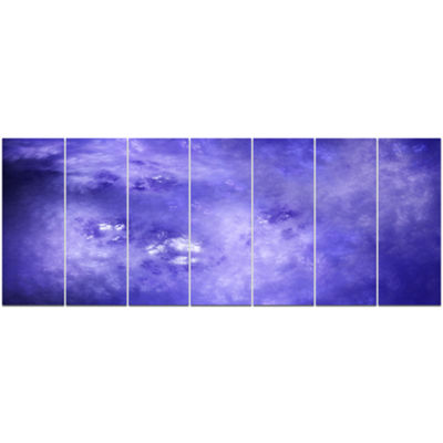 Light Blue Fractal Sky With Stars Abstract CanvasArt Print - 7 Panels