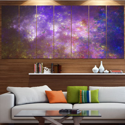 Designart Blur Fractal Sky With Stars Abstract Canvas Art Print - 4 Panels