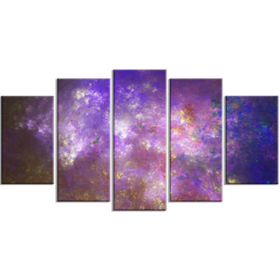 Designart Blur Fractal Sky With Stars ContemporaryCanvas Art Print - 5 Panels
