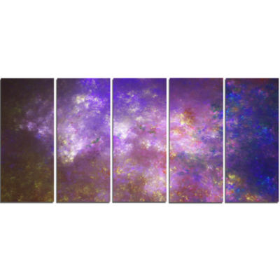 Blur Fractal Sky With Stars Abstract Canvas Art Print - 5 Panels