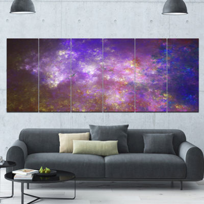 Designart Blur Fractal Sky With Stars Abstract Canvas Art Print - 6 Panels