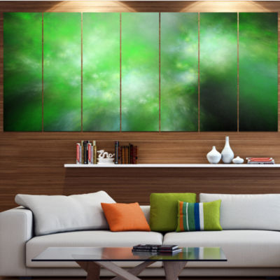Green Blur Sky With Stars Abstract Canvas Art Print - 4 Panels