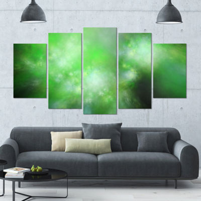 Green Blur Sky With Stars Contemporary Canvas ArtPrint - 5 Panels