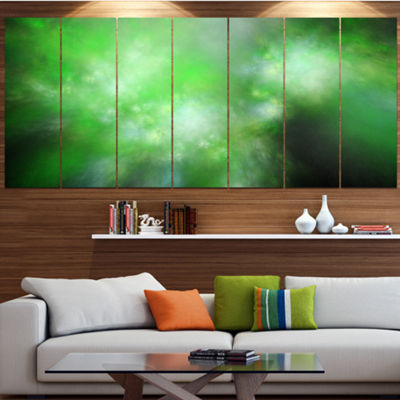 Green Blur Sky With Stars Abstract Canvas Art Print - 5 Panels
