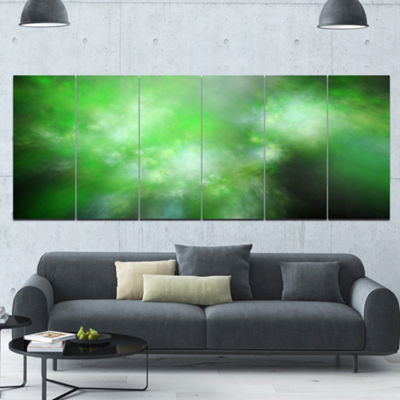 Green Blur Sky With Stars Abstract Canvas Art Print - 6 Panels