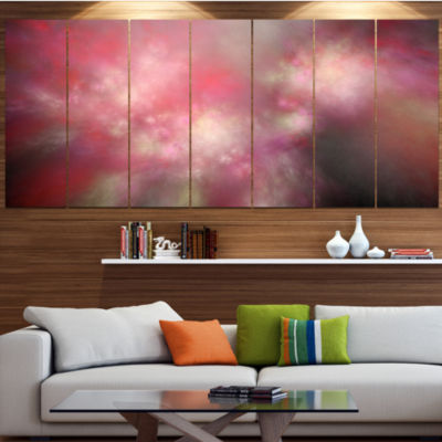 Red Blur Sky With Stars Abstract Canvas Art Print-7 Panels