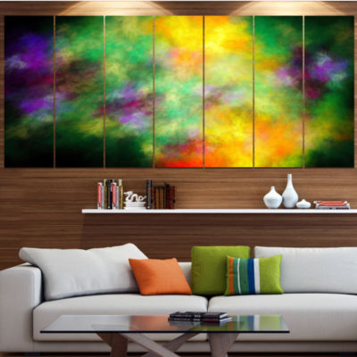 Colorful Sky With Blur Stars Abstract Canvas Art Print - 4 Panels