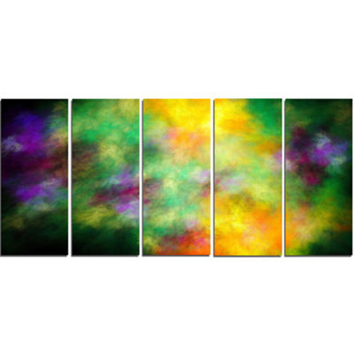 Designart Colorful Sky With Blur Stars Abstract Canvas Art Print - 5 Panels