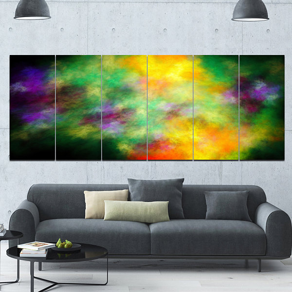 Designart Colorful Sky With Blur Stars Abstract Canvas Art Print - 6 Panels
