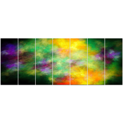 Designart Colorful Sky With Blur Stars Abstract Canvas Art Print - 7 Panels