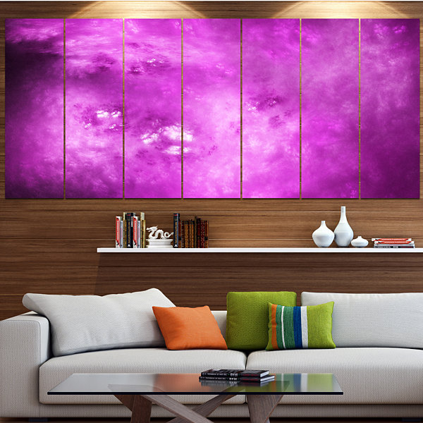Design Art Bright Purple Sky With Stars Contemporary Canvas Art Print - 5 Panels