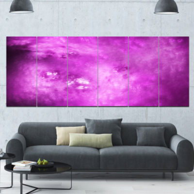 Bright Purple Sky With Stars Abstract Canvas Art Print - 6 Panels