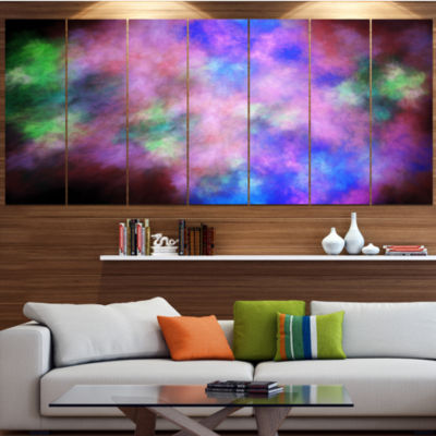 Multi Color Bright Sky With Stars Abstract CanvasArt Print - 4 Panels