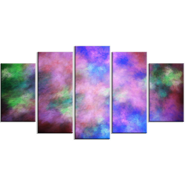 Multi Color Bright Sky With Stars Contemporary Canvas Art Print - 5 Panels