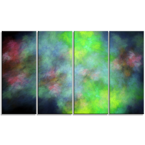Green Blue Sky With Stars Abstract Canvas Art Print - 4 Panels