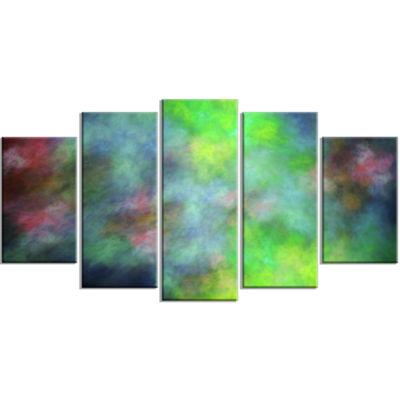 Green Blue Sky With Stars Contemporary Canvas ArtPrint - 5 Panels