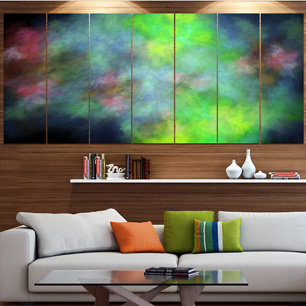 Green Blue Sky With Stars Abstract Canvas Art Print - 6 Panels