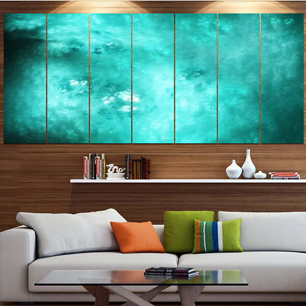 Designart Blur Blue Sky With Stars Abstract CanvasArt Print- 6 Panels