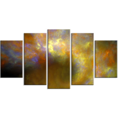 Blur Yellow Sky With Stars Contemporary Canvas ArtPrint - 5 Panels