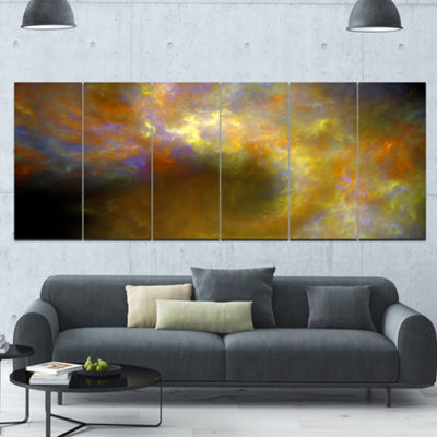 Designart Blur Yellow Sky With Stars Abstract Canvas Art Print - 6 Panels