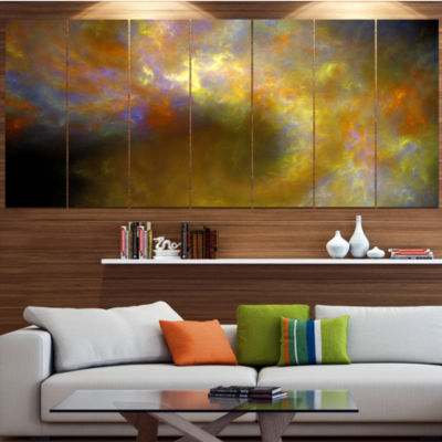 Designart Blur Yellow Sky With Stars Abstract Canvas Art Print - 7 Panels