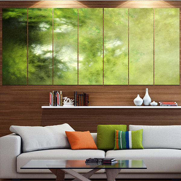 Designart Blur Green Sky With Stars Abstract Canvas Art Print - 4 Panels