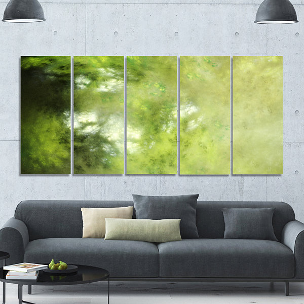 Design Art Blur Green Sky With Stars Abstract Canvas Art Print - 5 Panels