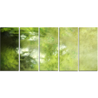 Designart Blur Green Sky With Stars Abstract Canvas Art Print - 5 Panels