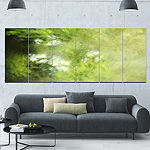 Designart Blur Green Sky With Stars Abstract Canvas Art Print - 6 Panels