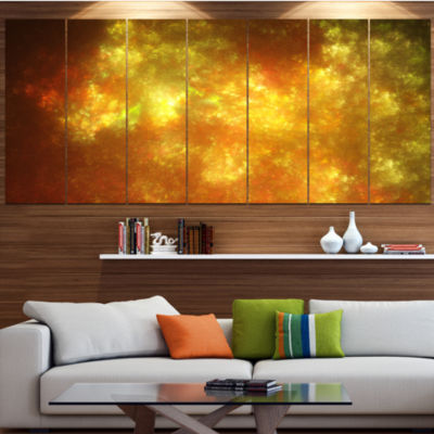 Designart Blur Golden Sky With Stars Abstract Canvas Art Print - 6 Panels
