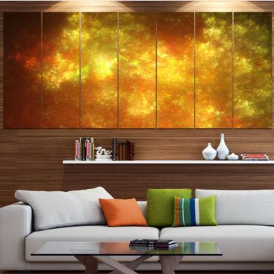 Designart Blur Golden Sky With Stars Abstract Canvas Art Print - 7 Panels