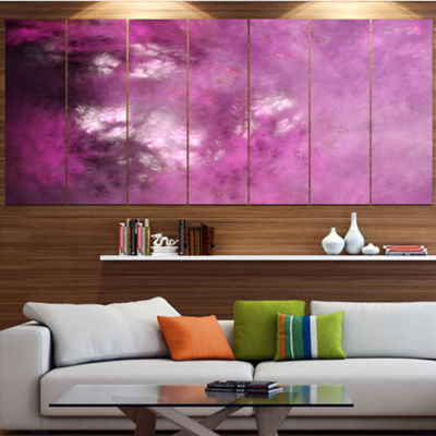 Designart Blur Pink Sky With Stars Abstract CanvasArt Print- 4 Panels