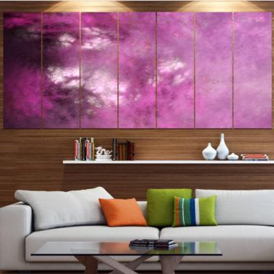 Designart Blur Pink Sky With Stars Contemporary Canvas Art Print - 5 Panels
