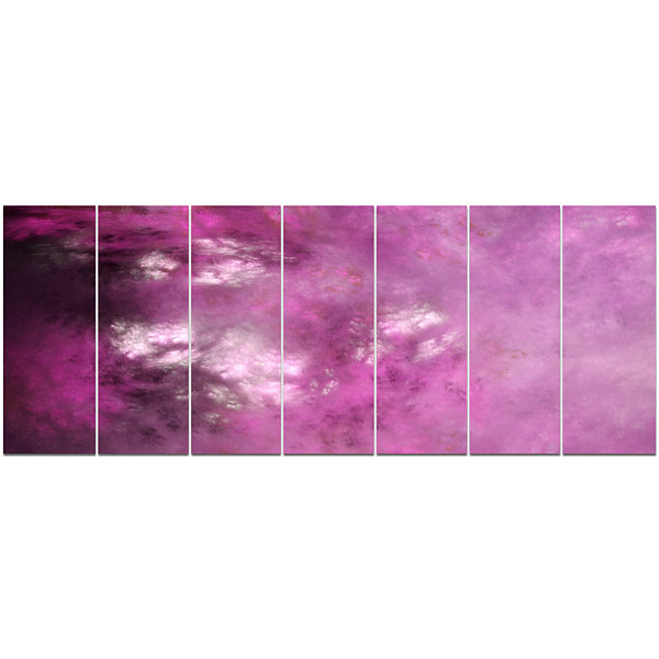 Designart Blur Pink Sky With Stars Abstract CanvasArt Print- 7 Panels