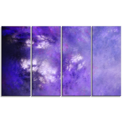 Designart Blur Purple Sky With Stars Abstract Canvas Art Print - 4 Panels