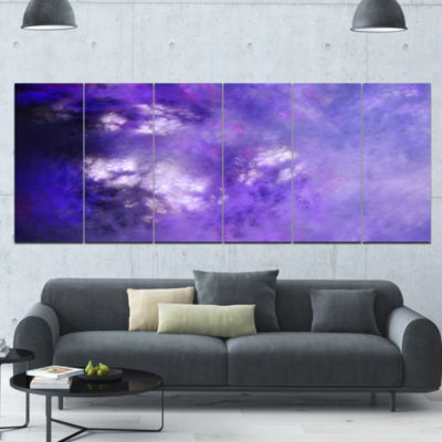 Blur Purple Sky With Stars Abstract Canvas Art Print - 6 Panels