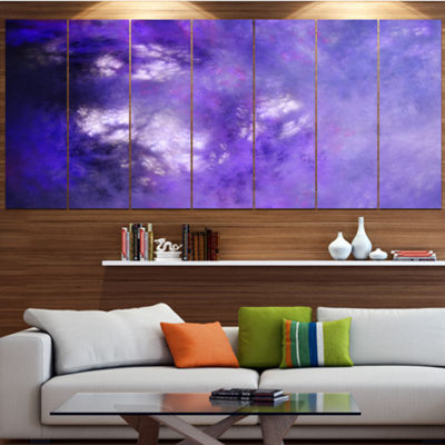Designart Blur Purple Sky With Stars Abstract Canvas Art Print - 7 Panels