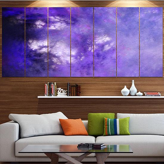 Designart Blur Purple Sky With Stars Abstract Canvas Art Print - 7 Panels