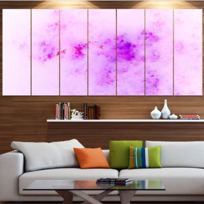 Designart Blur Light Pink Sky With Stars AbstractCanvas ArtPrint - 7 Panels