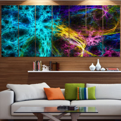 Glowing Abstract Fireworks Abstract Canvas Art Print - 4 Panels