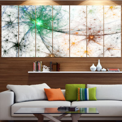 Designart Abstract Colorful Fireworks Abstract Canvas Art Print - 7 Panels