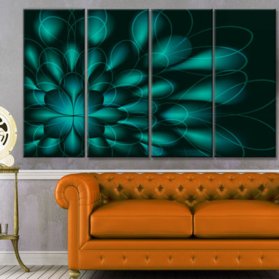 Green Fractal Flower On Black Abstract Canvas ArtPrint - 4 Panels