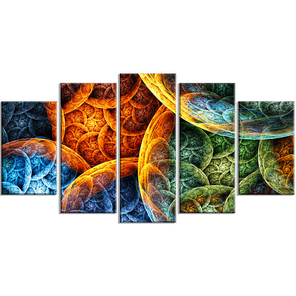 Vibrant Colorful Clouds Contemporary Canvas Art Print - 5 Panels