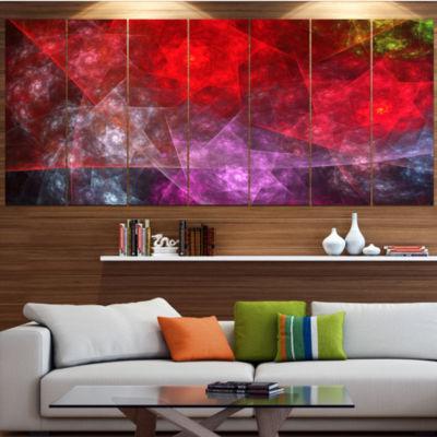 Red Purple Symphony Of Gems Contemporary Canvas Art Print - 5 Panels