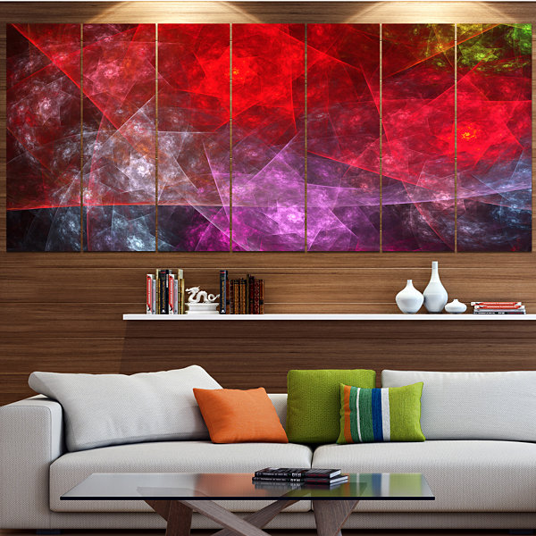 Red Purple Symphony Of Gems Abstract Canvas Art Print - 5 Panels